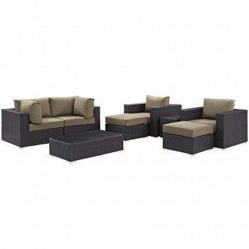 Convene 8 Piece Outdoor Patio Sectional Set, Сomposition 4, Espresso, Mocha by Modway