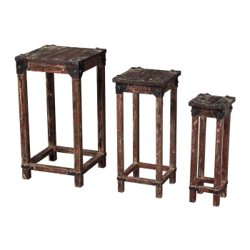 Distressed Finish Stacking Tables - Set of 3