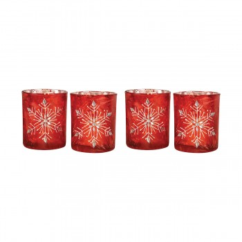 Snowflake Votive, Red, Set of 4