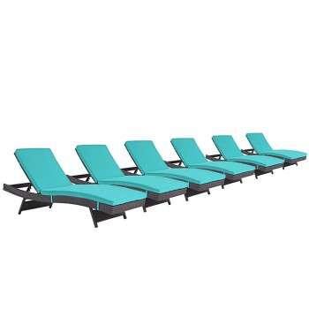 Convene Chaise Outdoor Patio, Set of 6, Espresso, Turquoise by Modway