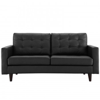 Empress Bonded Leather Loveseat, Black by Modway