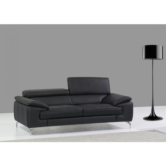 A973 Italian Leather Sofa, Black photo