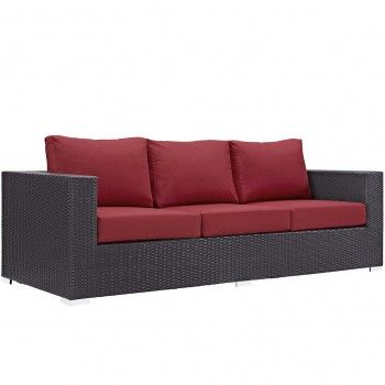 Convene Outdoor Patio Sofa, Espresso, Red by Modway