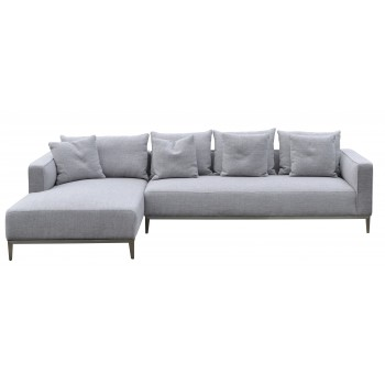 California Sectional, Large, Left Arm Chaise, Black Base, Grey Tweed by SohoConcept Furniture