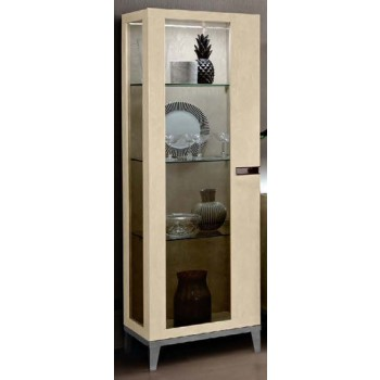 Ambra Left Hand Facing 1-Door Vitrine w/Glass Sides