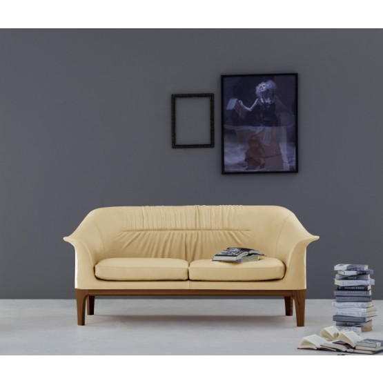 Tiffany Sofa, Canaletto Walnut Wood Base, Cream Eco-Leather photo