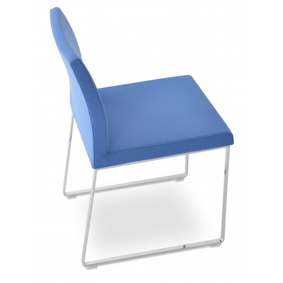 Aria Sled Dining Chair, Sky Blue Camira Wool photo