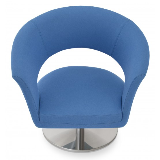 Ada Swivel Round Armchair, Sky Blue Camira Wool photo