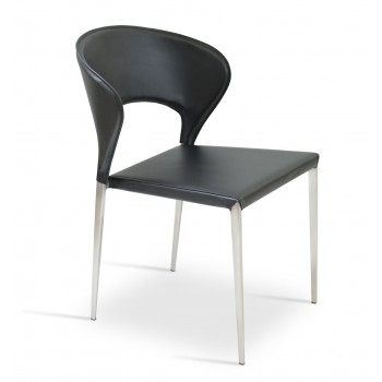 Prada Metal Stackable Chair, Black Bonded Leather by SohoConcept Furniture