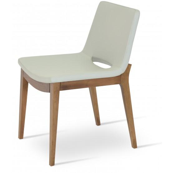 Nevada Wood Chair, Solid Beech Walnut Finish, Light Grey Leatherette photo
