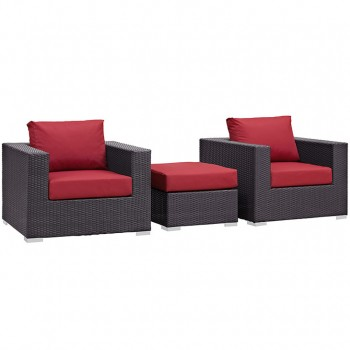 Convene 3 Piece Outdoor Patio Sectional Set, Espresso, Red by Modway