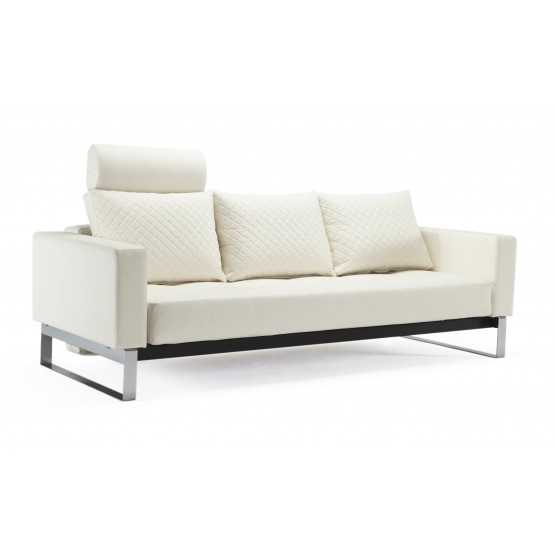 Cassius Quilt Deluxe Full Size Sofa Bed, 588 Leather Look White PU + Chromed Legs photo