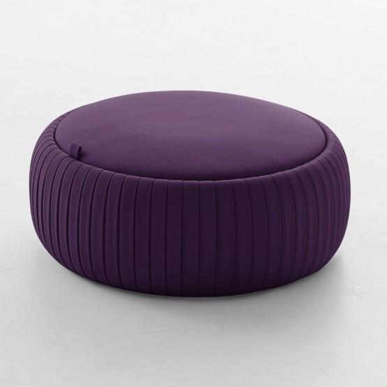 Plisse Medium Pouf, Aubergine Purple Eco-Leather photo