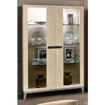Ambra 2-Door Vitrine w/Wooden Sides