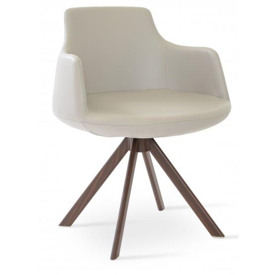 Dervish Sword Dining Chair, Walnut Veneer Steel, Bone Leatherette photo