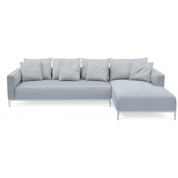 California Sectional, Large, Right Arm Chaise, Stainless Steel Base, Grey Brick Fabric by SohoConcept Furniture