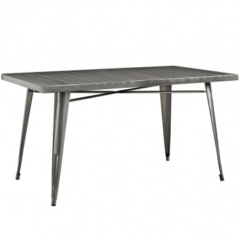 """Alacrity 59"""" Rectangle Metal Dining Table, Gunmetal by Modway"""