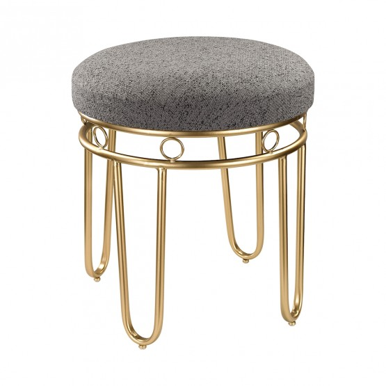 Grey Linen Stool With Gold Legs photo