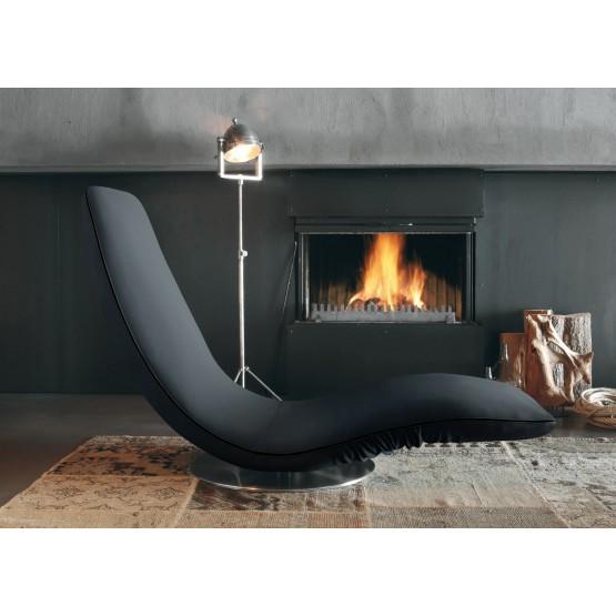 Ricciolo Chaise Lounge, Anthracite Grey Orchidea Fabric photo