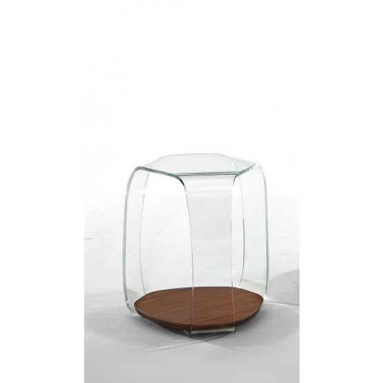 Chakra Side Table, Canaletto Walnut Wood Base, Extra Clear Transparent Glass Top photo