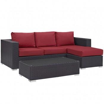 Convene 3 Piece Outdoor Patio Sofa Set, Espresso, Red by Modway