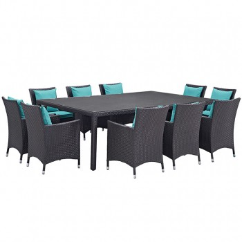 Convene 11 Piece Outdoor Patio Dining Set, Сomposition 2, Espresso, Turquoise by Modway