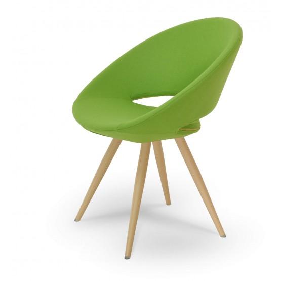 Crescent Star Chair, Natural Veneer Steel, Pistachio Camira Wool, Large Seat photo