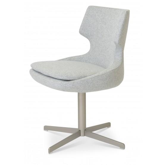Patara 4 Star Dining Chair, Mat Brushed Nickel, Silver Camira Wool photo