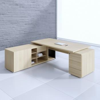 Mito Executive Desk w/Managerial Side Storage + Pedestal MIT1KD, Light Sycamore + Black High Gloss