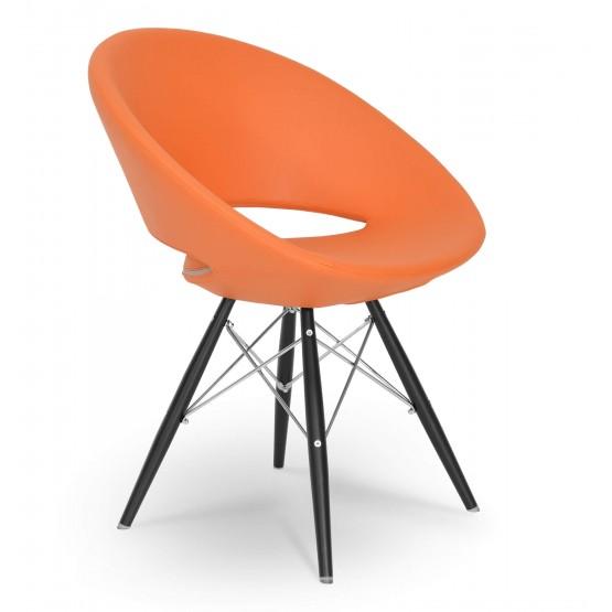 Crescent MW Chair, Black Powder, Orange Leatherette, Large Seat photo