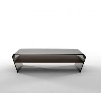 Amaranto Coffee Table with Heat-Treated Dark Oak Wood Shelf, Grey