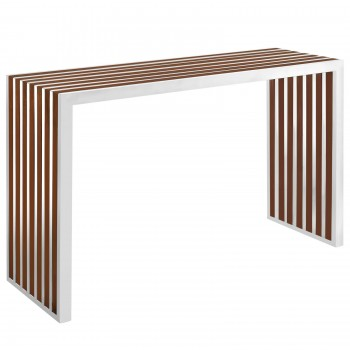 Gridiron Wood Inlay Console Table, Walnut by Modway