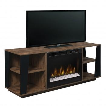 Arlo Media Console Electric Fireplace, Tan Walnut Finish, Acrlyic Ice (XHD26) Firebox