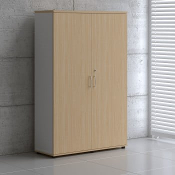2 Door Storage Unit A6106, White + Beech