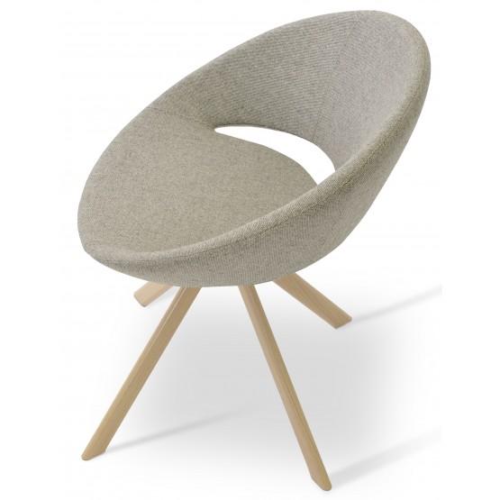 Crescent Sword Chair, Natural Veneer Steel, Grey & Cream Camira Wool, Large Seat photo