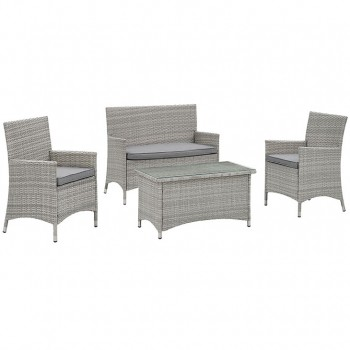 Bridge 4 Piece Outdoor Patio Patio Conversation Set, Light Gray, Gray by Modway