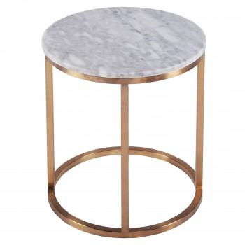 Elon KD Round End Table Marble, Top, White