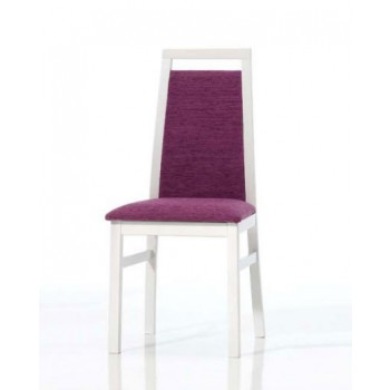 Ailin Dining Chair, White Base, Violet Upholstery