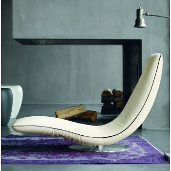 Ricciolo Chaise Lounge, Havana White Eco-Leather