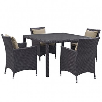 Convene 5 Piece Outdoor Patio Dining Set, Espresso, Mocha by Modway