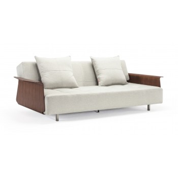 Long Horn Sofa Bed w/Arms, 527 Mixed Dance Natural Fabric