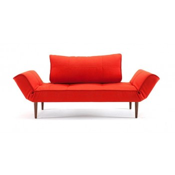 Zeal Deluxe Daybed, 751 Basic Orange Fabric + Dark Wood Legs