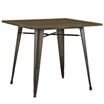 "Alacrity 36"" Square Wood Dining Table, Brown by Modway"
