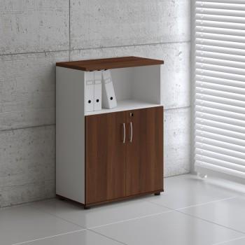 Basic K3404 2-Door Storage, White + Lowland Nut