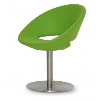 Crescent Round Swivel Chair, Pistachio Camira Wool, Large Seat by SohoConcept Furniture
