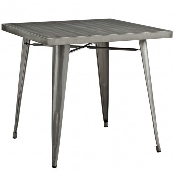 "Alacrity 36"" Square Metal Dining Table, Gunmetal by Modway"