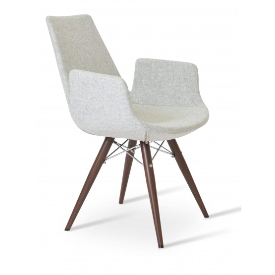 Eiffel Arm MW Plus Chair, Walnut Veneer Steel, Silver Camira Wool photo