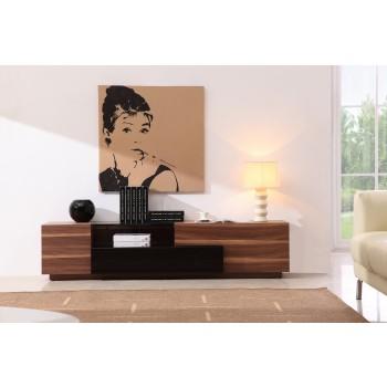 015 TV Stand, Walnut + Black High Gloss  by J&M Furniture