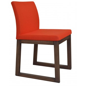 Aria Sled Wood Dininng Chair, Solid Beech Walnut Finish, Orange Camira Wool by SohoConcept Furniture
