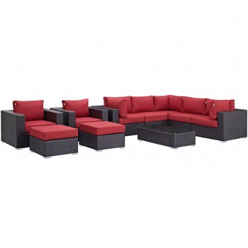 Convene 10 Piece Outdoor Patio Sectional Set, Espresso, Red by Modway